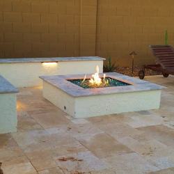 Gas Fire Pit with Outdoor Bench