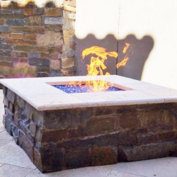 Fire Pit with Blue Rock