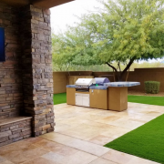 Travertine Patio with BBQ Island