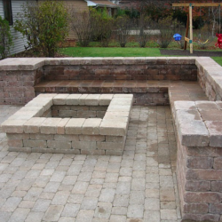 Outdoor Bench with Fire Pit
