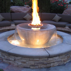 Water Feature with Outdoor Bench