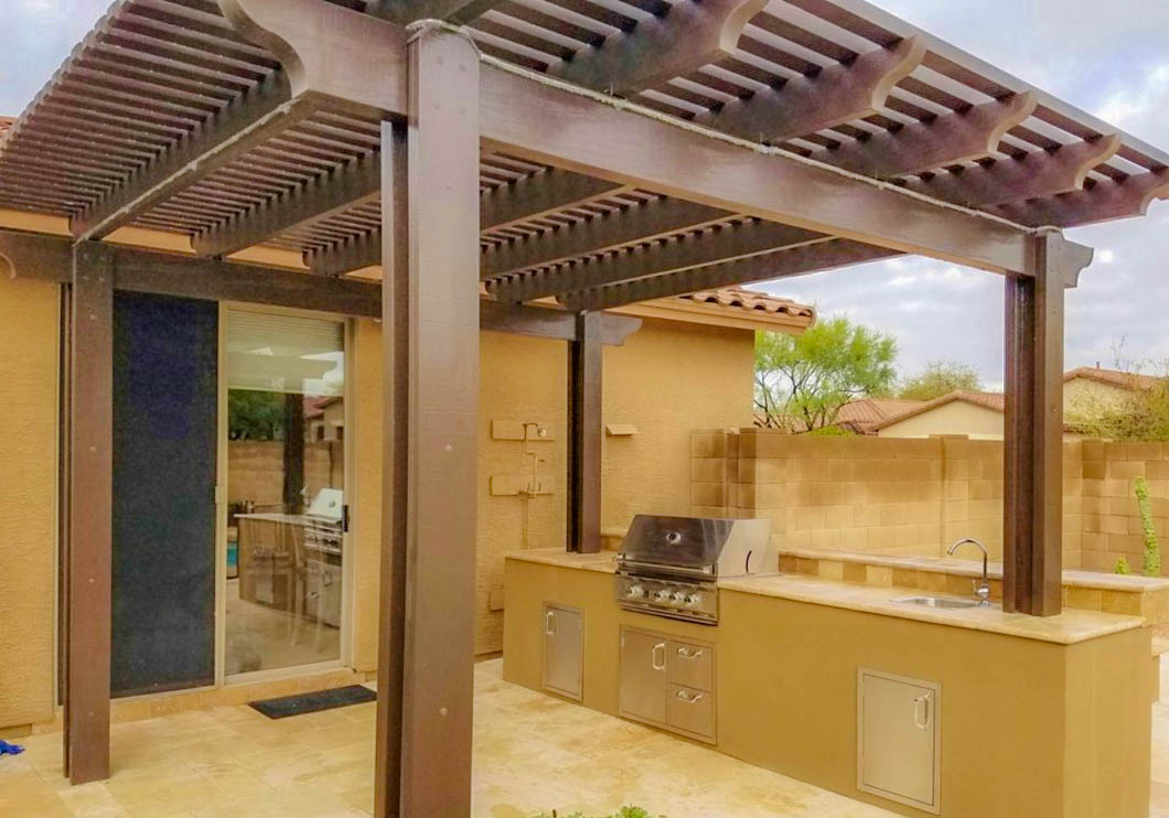 Aluminum pergola custom pergola scottsdale envirogreen landscape design build for Pergola aluminium design