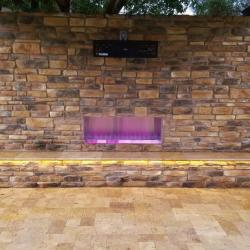 Outdoor Bench with Ledgestone