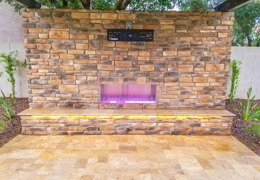 Lit Outdoor Fireplace