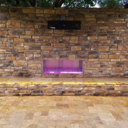 Fireplace wtih Ledgestone
