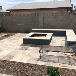 Travertine Bench with Fire Pit