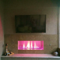 Gas Fireplace with Outdoor Bench