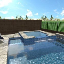 3D Landscape Design - Hot Tub in Pool