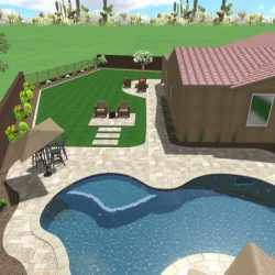 3D Landscape Rendering Artificial Turf and Travertine