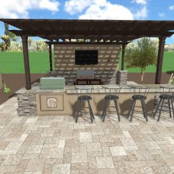 3D Rendering BBQ Island