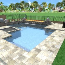 3D Landscape Rendering Travertine Sitting Area