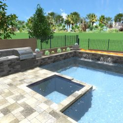3D Landscape Rendering Hot Tub and Pool