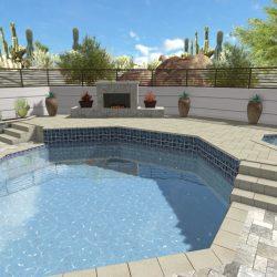 3D Landscape Rendering Fireplace