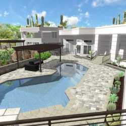 3D Landscape Rendering Travertine